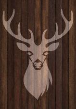 Shabby Chic vintage plastic Stencil sheet A3 stag deer head 420x297mm wall art