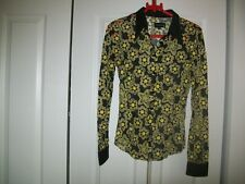 REPLAY--MADE IN ITALY-- BOHO BLACK/YELLOW SEE THRU FLORAL TOP--SMALL