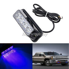 4LED Work Vehicle Grill Strobe Emergency Warning Side lamp net light Blue 12/24V