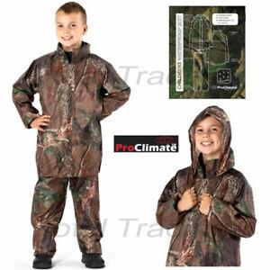 Childs Waterproof Suit Jacket & Trousers Rain Set Kids Childrens Boys  camo