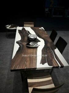 Dark Wooden Epoxy White Resin Art Dining Coffee Table Top Acacia Wooden Decors
