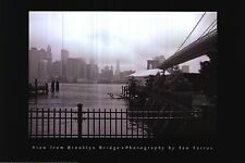 "NYC SKYLINE POSTER~New York City View From Brooklyn Bridge B/W 24x36"" Original"