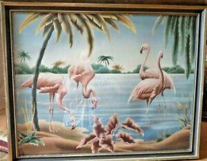 1950's Vintage Mid Century Modern Framed Turner Flamingo's Canvas Picture