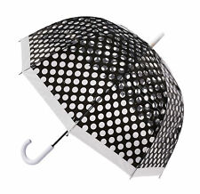 "SOAKE Auto Open Clear Dome Quality 32"" Umbrella - Black Polka Dot *FREE POSTAGE*"