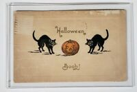 1911 Vintage Antique G.A. Co. Halloween Post Card Scared Black Cat Pumpkin JOL