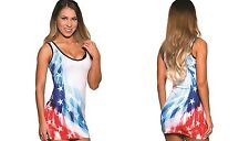Sexy Faded Stars & Stripes American Flag Mini Dress. USA Made. One Size. PA049.