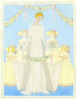 1930s French Pochoir Max Ninon Print Art Deco Bride w/ Bridesmaids White Dress