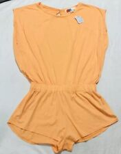 Free People Beach FP Romper Orange Tangerine Cut Out Back Size Large NEW