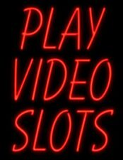"""New Play Video Slots Bar Beer Neon Sign 32"""" Artwork Light Real Glass Open"""
