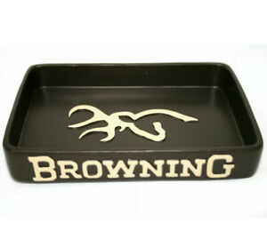 Browning Buckmark Soap Dish Resin Country Mountain Cabin Original Tan Deer Logo