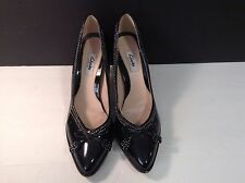 Clarks Narrative Black Patent Leather Heels with Bows tan Stitching Sz 9.5 UK 7D