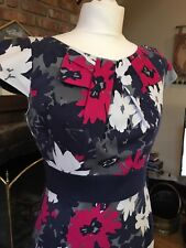 PER UNA M & S FLORAL NAVY BLUE PINK WHITE GREY PENCIL WIGGLE DRESS 12/10 WEDDING