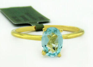 GENUINE 0.84 Cts AQUAMARINE SOLITAIRE RING 10k GOLD ** Free Certificate **