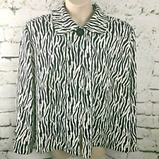 First Option Too Womens Jacket Swing Loose  Black and White Animal Print SIZE 3X