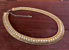 16'' Clear Crystal Rhinestone Gold Plated Chunky Necklace LEAD & Nickel Free