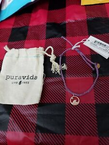 Pura Vida Bracelet in Purple w Rose Gold Wave Crystal  New w Stickers Free Ship