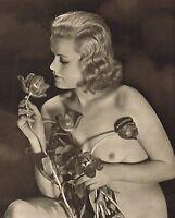 1930s Original Vintage Female Nude Tulips Art Deco Flower Photo Gravure Print