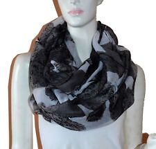 Soft Floral Light Weight X-large Infinity Scarf Loop Cowl-White/Black
