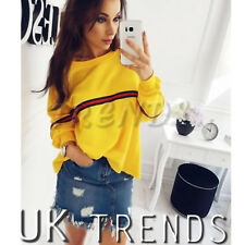 UK Womens Striped Baggy Oversized Jumper Pullover Top Sweater Sweatshirt Ladies