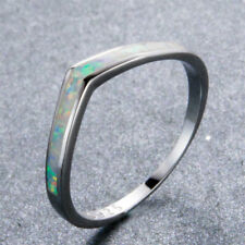 925 Sterling Silver White Fire Opal Chevron Thumb Ring Wedding Band Size 5-10