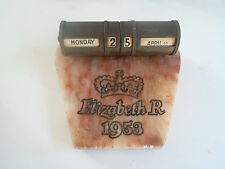 Highly Collectable Marble Based Perpetual Calendar - Elizabeth R 1953 Coronation