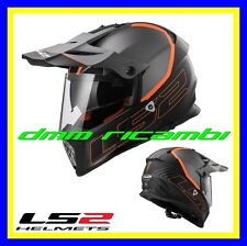 Casco LS2 MX436 PIONEER ELEMENT Nero Titanio Arancio Tg.S Enduro Motard Quad Atv
