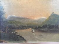 Original Oil painting on canvas Mountainous Landscape / Hudson River School