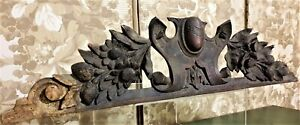 Flower blazon shield wood carving pediment Antique french architectural salvage
