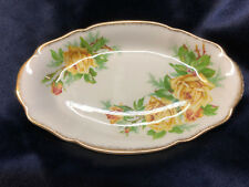 "ROYAL ALBERT TEA ROSE YELLOW RELISH DISH 8"" GOLD TRIM"