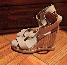 New Tory Burch sandals canvas and leather heels shoes 7 sand beige color Spain