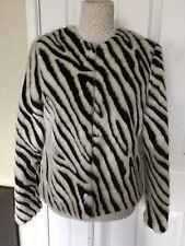 H & M Zebra Black & Winter White Faux Fur Jacket Coat UK Size 12 Excellent