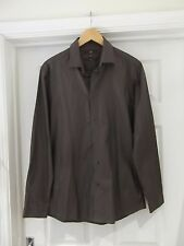 """NEXT Shirt in Grey Long Sleeve Mens Size 15.5"""" Collar 39cm Slim Fit 100% Cotton"""