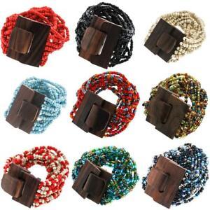 "7"" Wood Buckle Bohemian Handmade Glass Seed Beads Bracelet, Over 20 Colors"