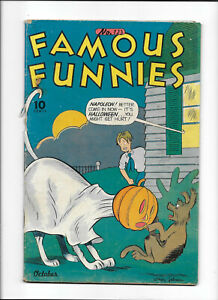FAMOUS FUNNIES #123 [1944 FR-GD] HALLOWEEN COVER!