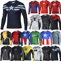 Mens Marvel Compression Base Layer Gym Top Superhero Long Sleeve Sport T-shirt