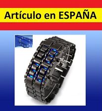 Reloj de pulsera ACERO digital Samurai LAVA WATCH brazalete azul led inoxidable
