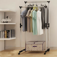 Portable Heavy Duty Double Rail Adjustable Garment Rack Shelf Clothes Hanger
