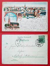 Litho AK BERLIN Neukölln Rixdorf 1900 Ev. Kirche und Stadtansicht  ( 19239