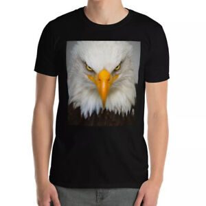 BALD EAGLE T-Shirt Face Portrait Amercian Wildlife Print T-Shirts HD Bird Gift