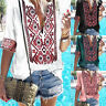 Womens Ethnic Boho Blouse V Neck Summer Holiday Beach T Shirt Loose Casual Tops