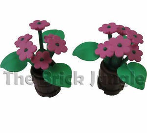 Custom LEGO Lush Plants in Barrels, flowers tree train