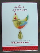 NIB 2013 HALLMARK CHRISTMAS ORNAMENT THREE FRENCH HENS 3rd IN SERIES QX9085