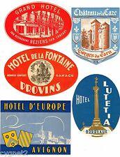LUGGAGE LABELS GROUP OF 5 FRENCH HOTELS AVIGNON BORDEAUX BEZIERS PROVINS