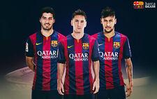 FC Barcelona neymar messi suarez Silk Poster/Wallpaper 24 X 13 inches