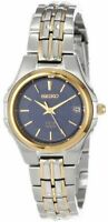 Seiko SUT040 Women's Solar Dress Blue Dial Two-Tone Stainless Steel Date Watch