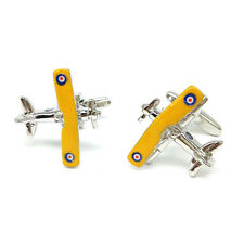 Yellow Winged Biplane Plane Cufflinks & Organza Pouch
