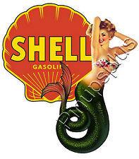 Shell Gas Logo Mermaid Pinup Girl Waterslide Decal Sticker S624