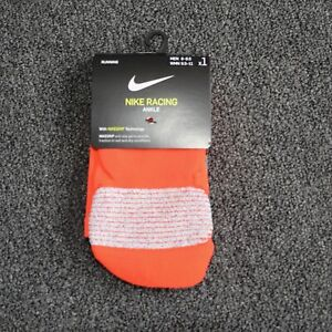 Nike Racing Socks Bright Crimson Orange Ankle Socks Mens 4-5.5 Womens 5.5-7