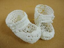 Hand Crocheted pair BABY SHOES / BOOTIES  Christmas Ornament Decoration White