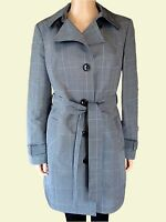 New Ex M&S Ladies Grey Check Smart Jacket Trench Rain Coat Mac Size 10 - 20